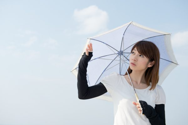日傘を差して紫外線予防する女性